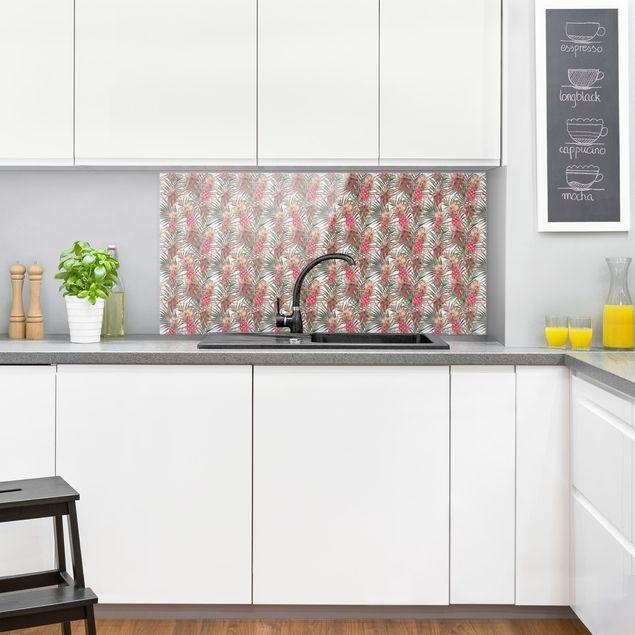 Spritzschutz Glas - Rote Ananas mit Palmenblättern Tropisch - Querformat 2:1