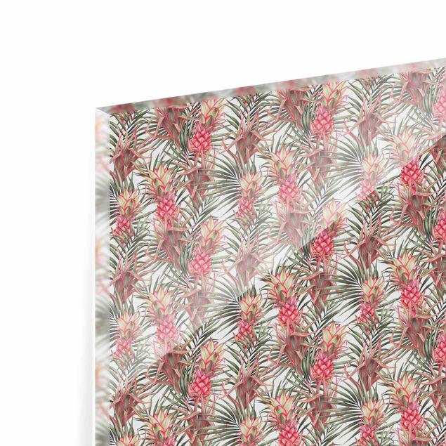 Spritzschutz Glas - Rote Ananas mit Palmenblättern Tropisch - Querformat 3:2