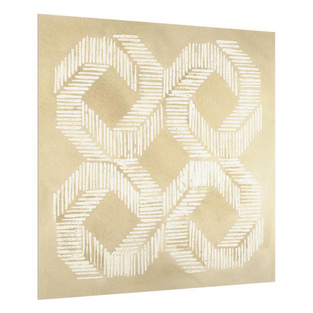 Spritzschutz Glas - Sandfarbene moderne Geometrie II - Quadrat 1:1