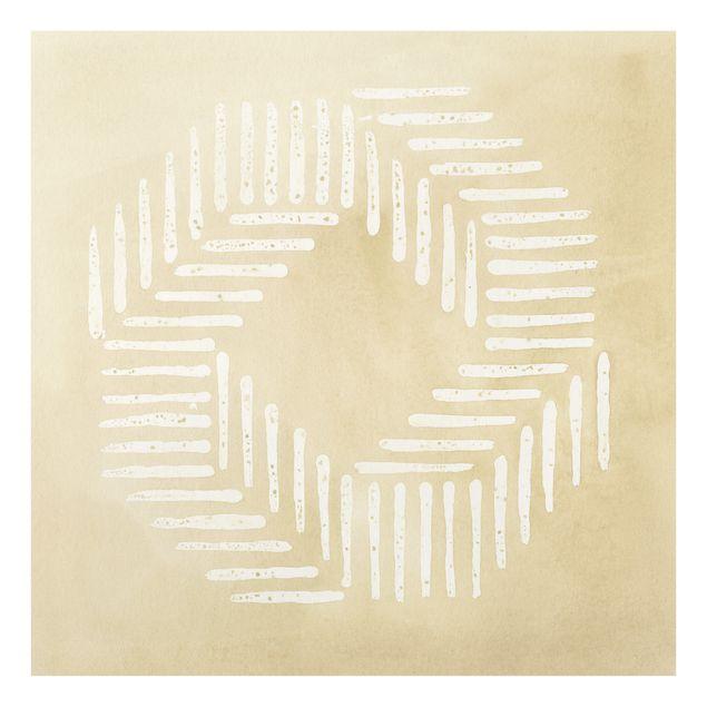 Spritzschutz Glas - Sandfarbene moderne Geometrie - Quadrat 1:1