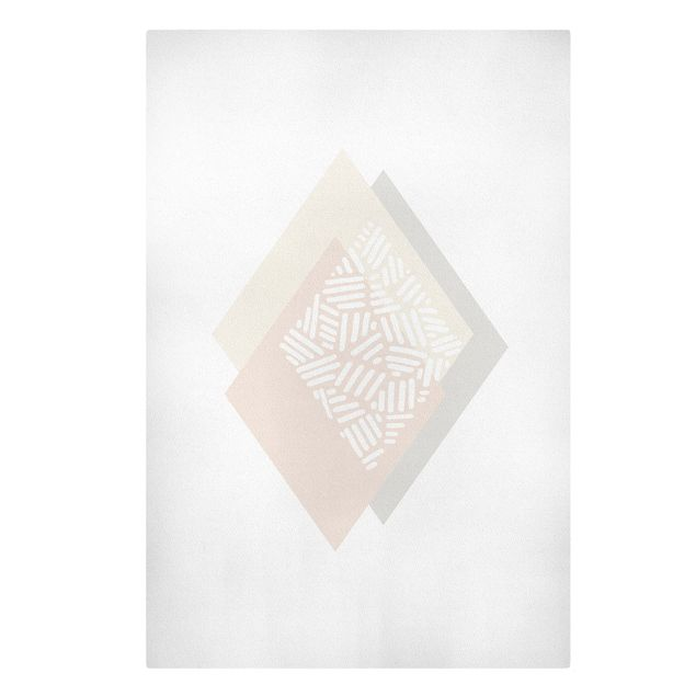 Leinwandbild - Sanfte Farben Geometrie Karo - Hochformat 2:3