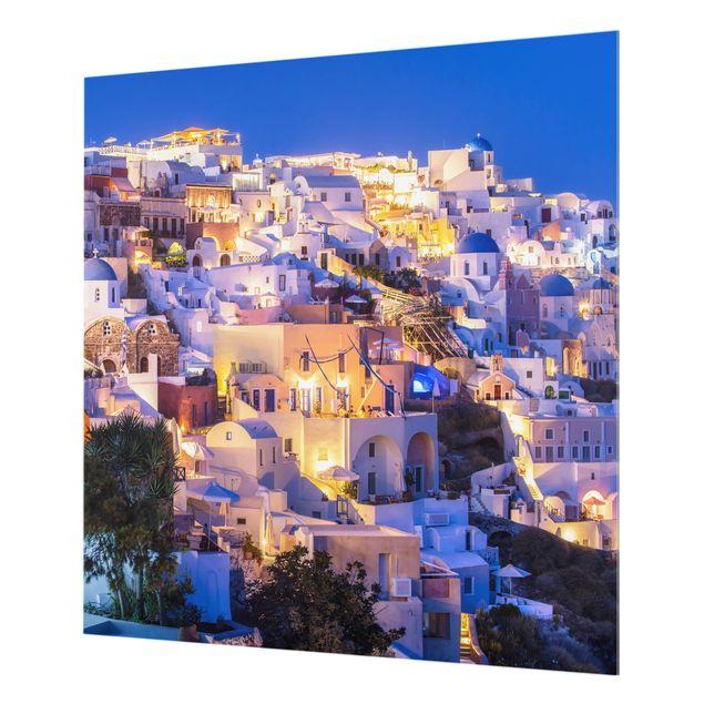 Spritzschutz Glas - Santorini at night - Quadrat 1:1