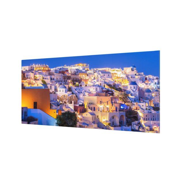 Spritzschutz Glas - Santorini at night - Querformat 2:1