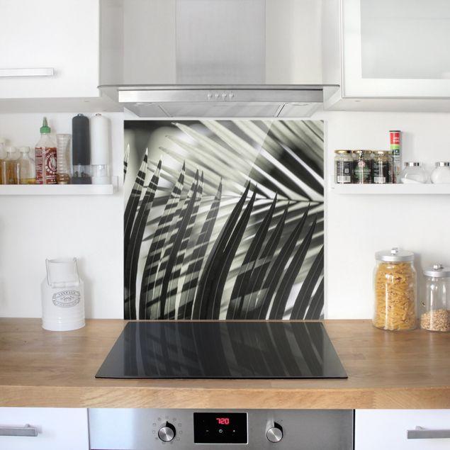 Spritzschutz Glas - Schattenspiel auf Palmenwedel - Quadrat 1:1