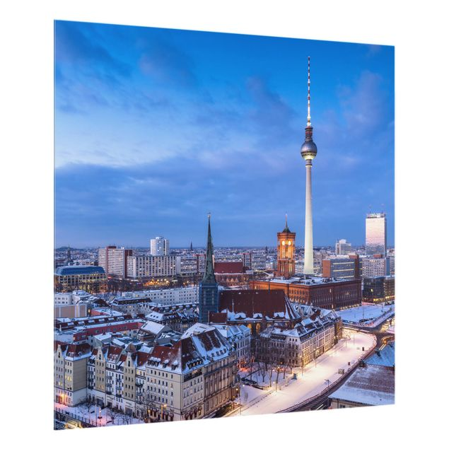 Spritzschutz Glas - Schnee in Berlin - Quadrat 1:1