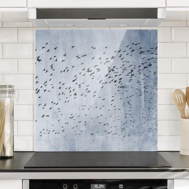 Spritzschutz Glas - Schwarmverhalten - Quadrat 1:1