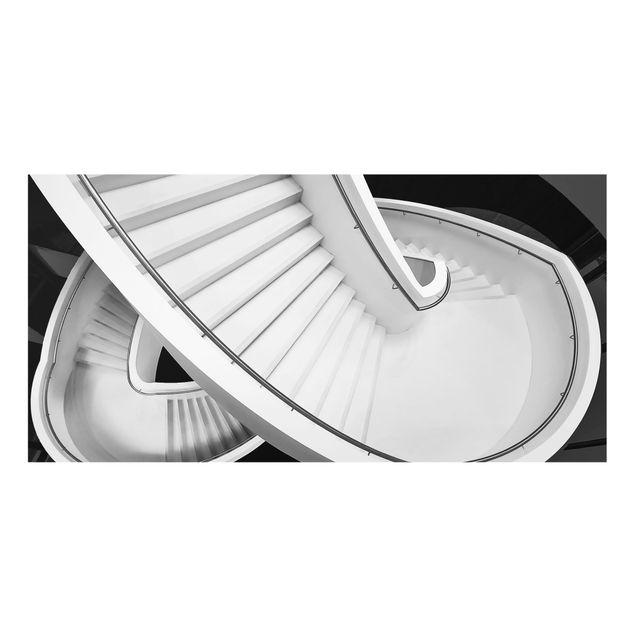Spritzschutz Glas - Schwarz Weiße Treppenarchitektur - Querformat 2:1