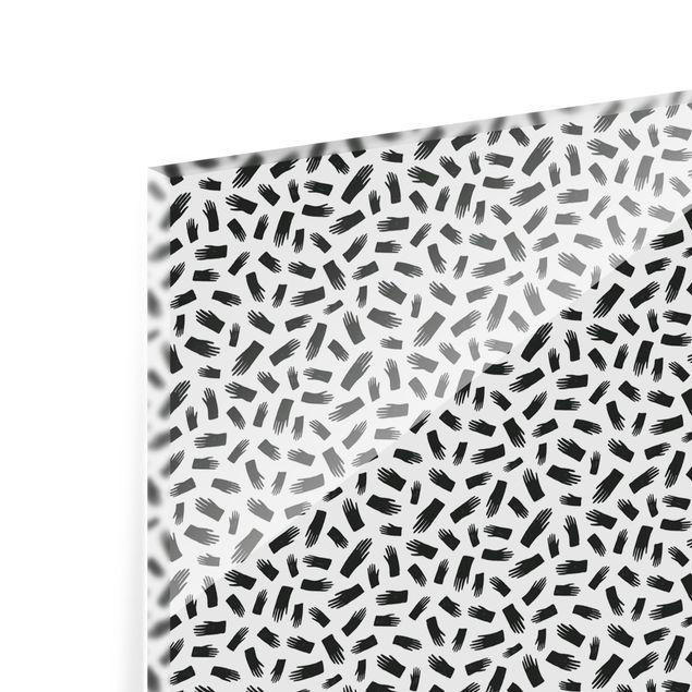 Spritzschutz Glas - Schwarze Tusche Händemuster - Querformat 2:1