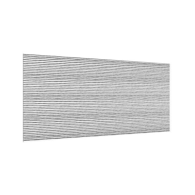 Spritzschutz Glas - Schwarze Tusche Linienmuster - Querformat 2:1