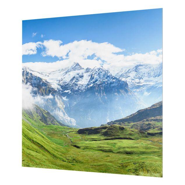 Spritzschutz Glas - Schweizer Alpenpanorama - Quadrat 1:1