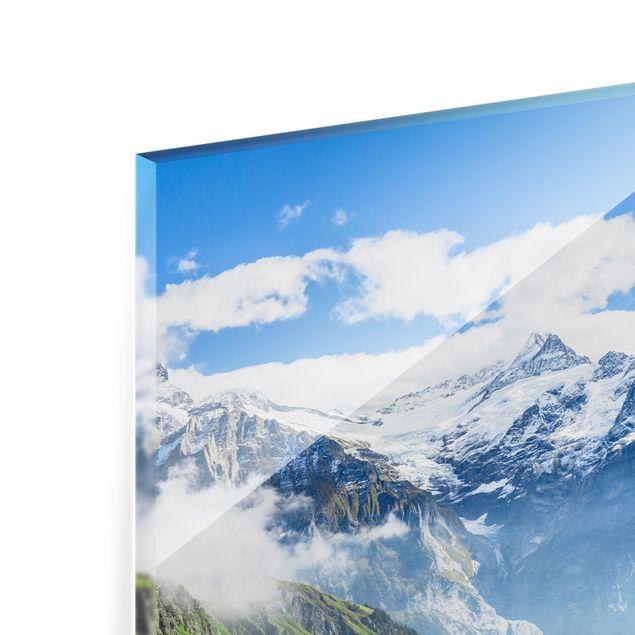 Spritzschutz Glas - Schweizer Alpenpanorama - Querformat 4:3