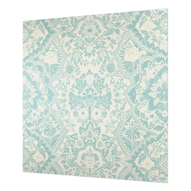 Spritzschutz Glas - Shabby Barocktapete in Azur - Quadrat 1:1