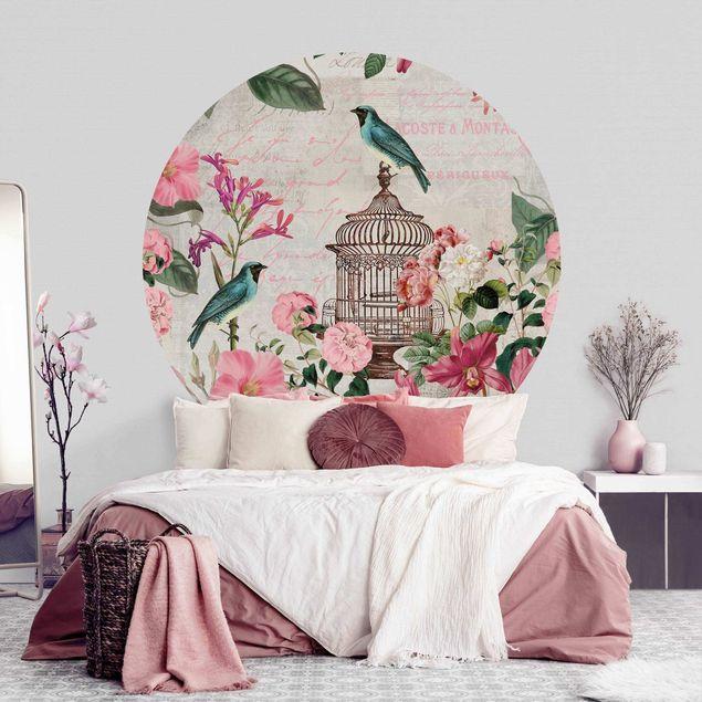 Runde Tapete selbstklebend - Shabby Chic Collage - Rosa Blüten und blaue Vögel
