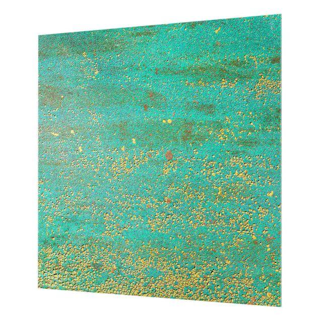Spritzschutz Glas - Shabby Farbpigmente Gelb und Türkis - Quadrat 1:1