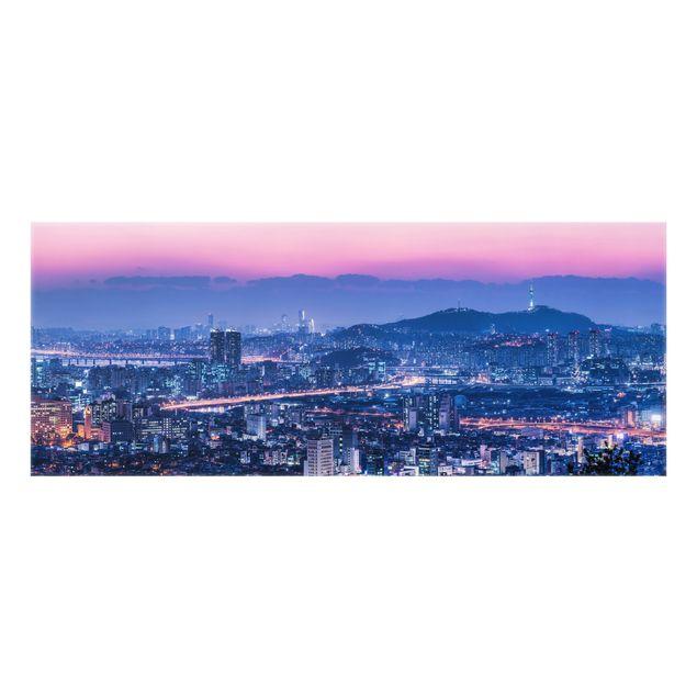 Spritzschutz Glas - Skyline von Seoul - Panorama 5:2