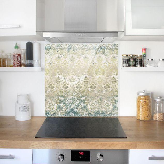 Spritzschutz Glas - Smaragdfarbener Barocktraum - Quadrat 1:1