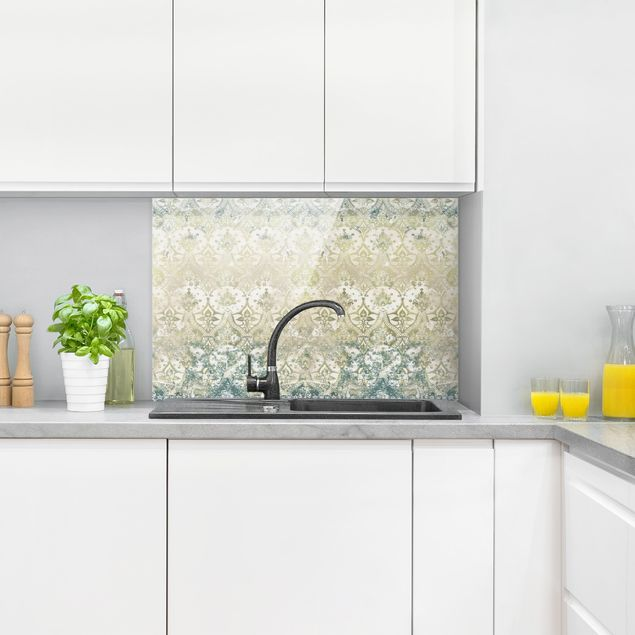 Spritzschutz Glas - Smaragdfarbener Barocktraum - Querformat 3:2