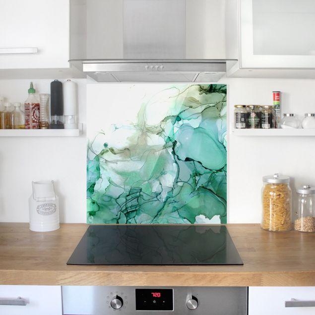 Spritzschutz Glas - Smaragdfarbener Sturm - Quadrat 1:1