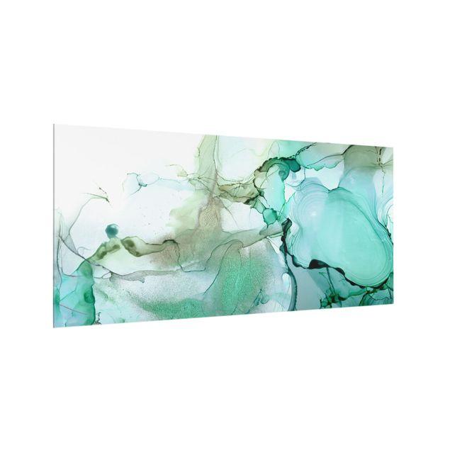 Spritzschutz Glas - Smaragdfarbener Sturm - Querformat 2:1