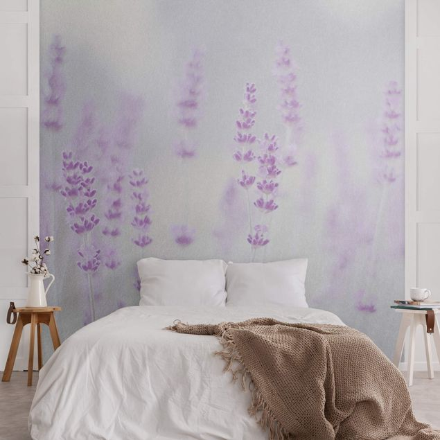 Metallic Tapete - Sommer im Lavendelfeld