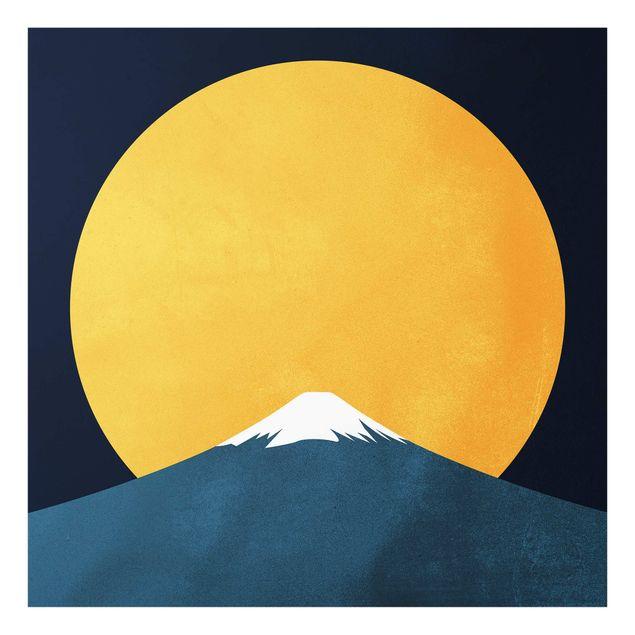 Spritzschutz Glas - Sonne, Mond und Berge - Quadrat 1:1