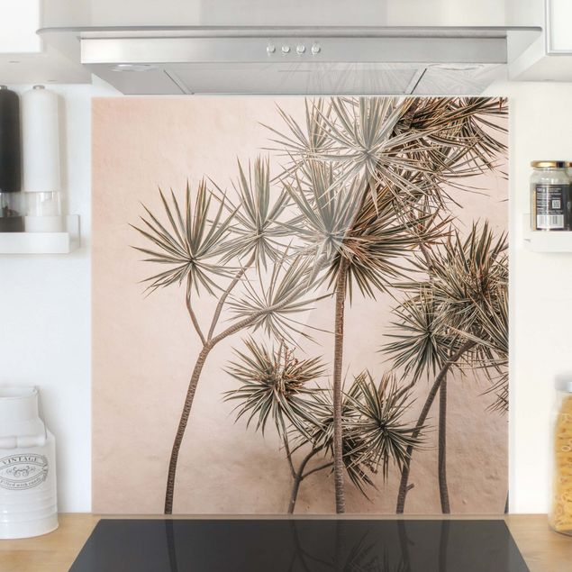 Spritzschutz Glas - Sonnengeküsste Palmen - Quadrat 1:1