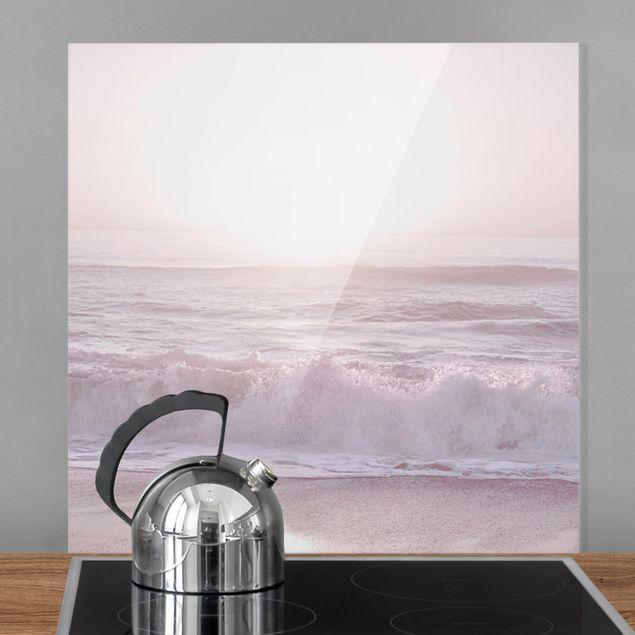 Spritzschutz Glas - Sonnenuntergang in zartem Rosa - Quadrat 1:1