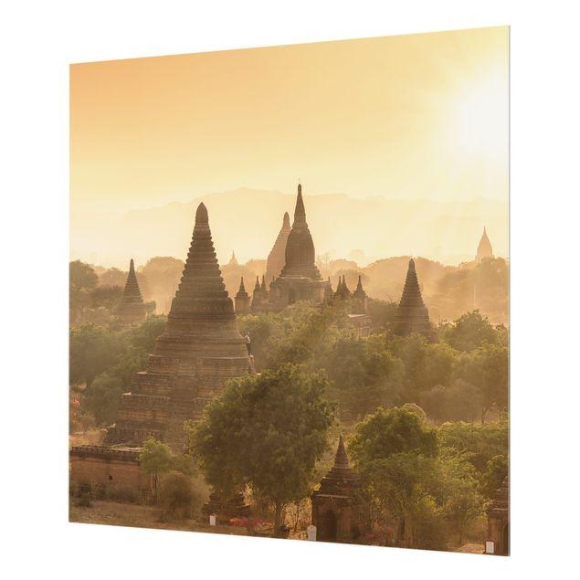 Spritzschutz Glas - Sonnenuntergang über Bagan - Quadrat 1:1