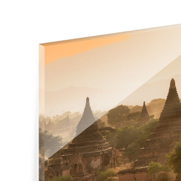 Spritzschutz Glas - Sonnenuntergang über Bagan - Panorama 5:2