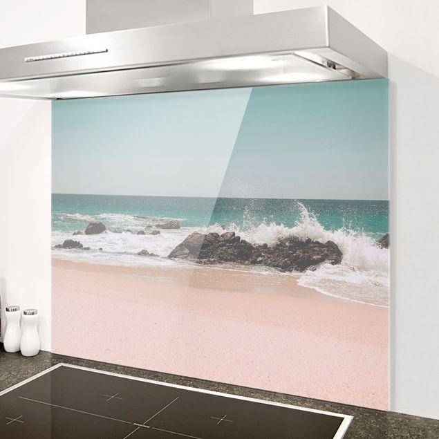 Spritzschutz Glas - Sonniger Strand Mexico - Querformat 4:3