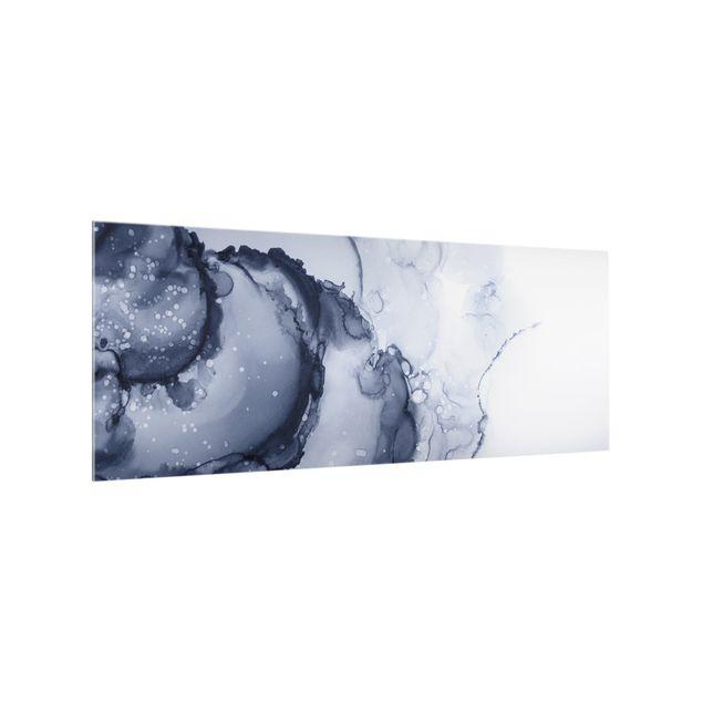 Spritzschutz Glas - Spiel der Farben Blaue Tusche - Panorama 5:2