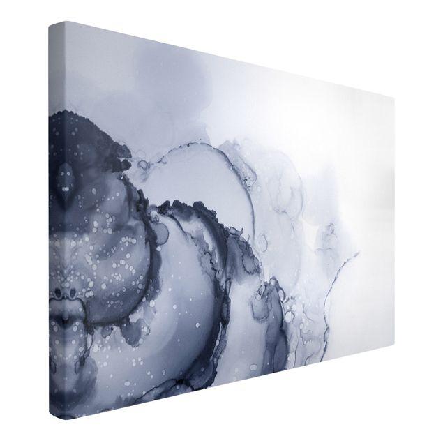 Leinwandbild - Spiel der Farben Blaue Tusche - Querformat 3:2