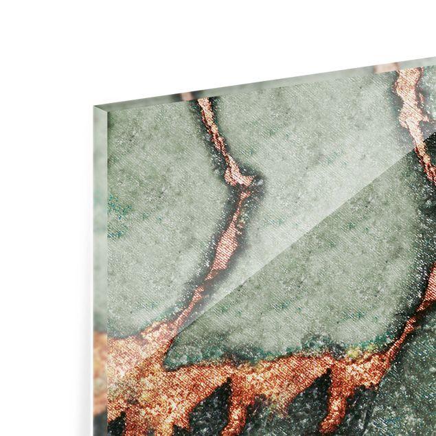 Spritzschutz Glas - Spiel der Farben Farngrün und Gold - Panorama 5:2