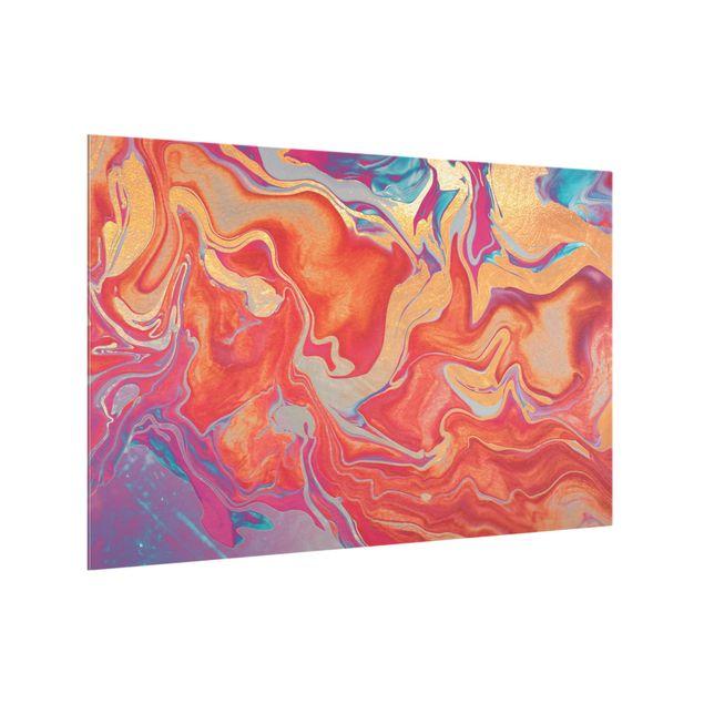 Spritzschutz Glas - Spiel der Farben Goldenes Feuer - Querformat 3:2