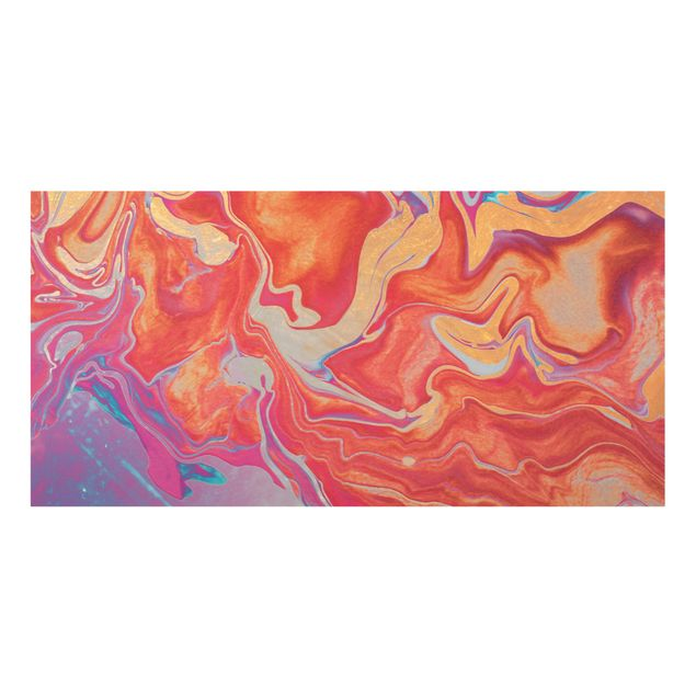 Spritzschutz Glas - Spiel der Farben Goldenes Feuer - Querformat 2:1
