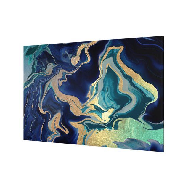 Spritzschutz Glas - Spiel der Farben Indigo Feuer - Querformat 3:2