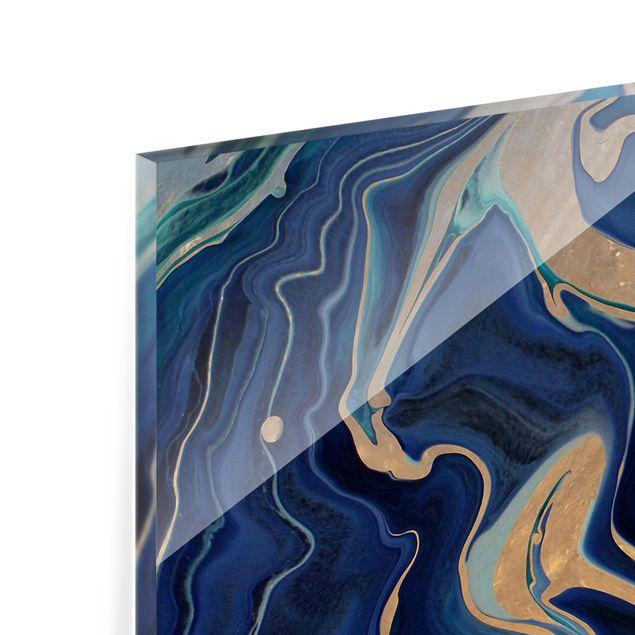 Spritzschutz Glas - Spiel der Farben Indigo Feuer - Panorama 5:2