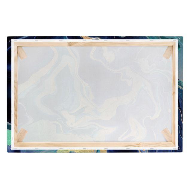 Leinwandbild - Spiel der Farben Indigo Feuer - Querformat 3:2
