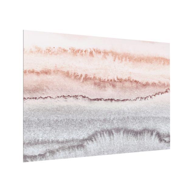 Spritzschutz Glas - Spiel der Farben Meeresrauschen im Nebel - Querformat 4:3