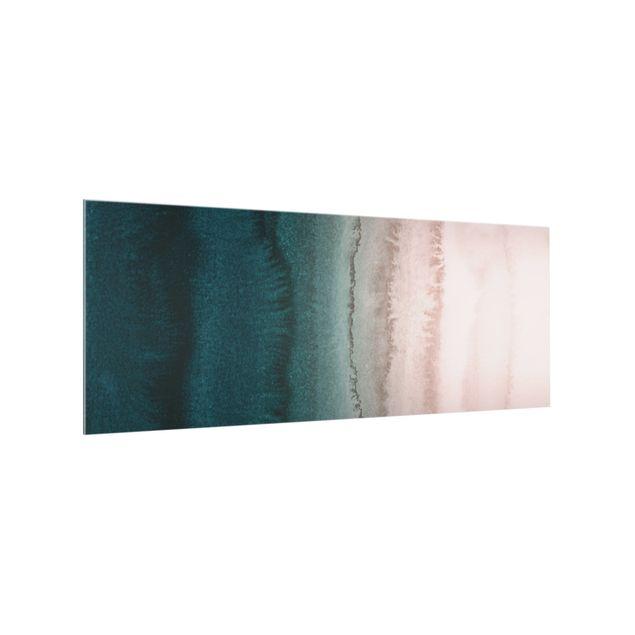 Spritzschutz Glas - Spiel der Farben Meeresrauschen - Panorama 5:2