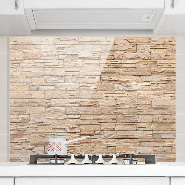 Spritzschutz Glas - Asian Stonewall - Große helle Steinmauer aus wohnlichen Steinen - Quer 2:1