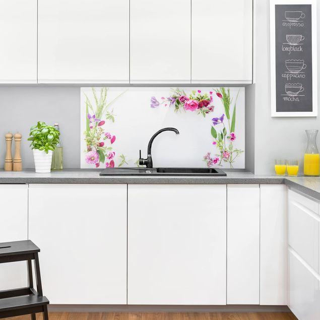 Spritzschutz Glas - Blumenarrangement - Querformat 2:1