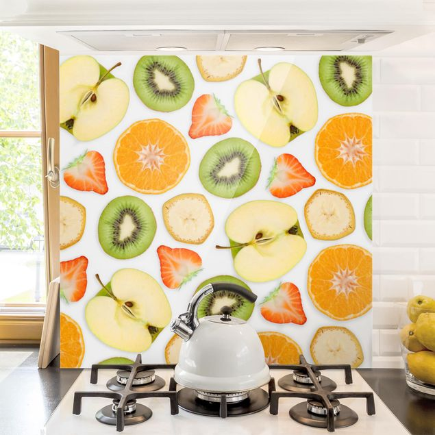Spritzschutz Glas - Bunter Obst Mix - Quadrat 1:1