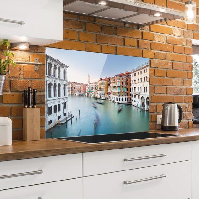 Spritzschutz Glas - Canale Grande Blick von der Rialtobrücke Venedig - Querformat 2:3