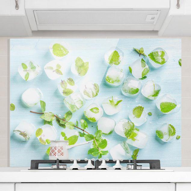 Spritzschutz Glas - Eiswürfel mit Minzblättern - Quer 3:2