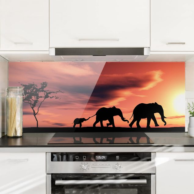 Spritzschutz Glas - Savannah Elefant Family - Panorama Quer