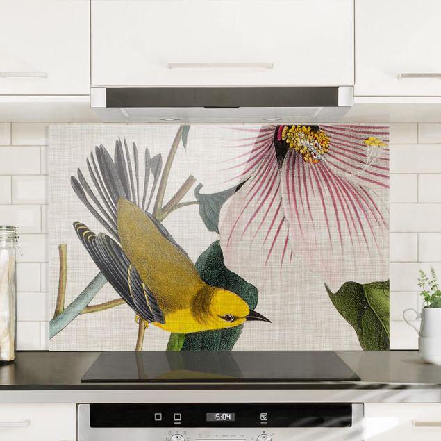 Spritzschutz Glas - Vogel auf Leinen Gelb I - Querformat 2:3