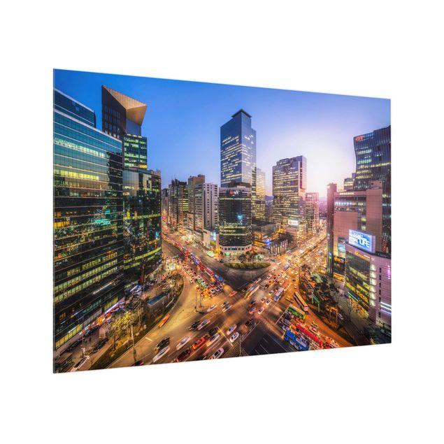 Spritzschutz Glas - Stadtlichter von Gangnam - Querformat 4:3