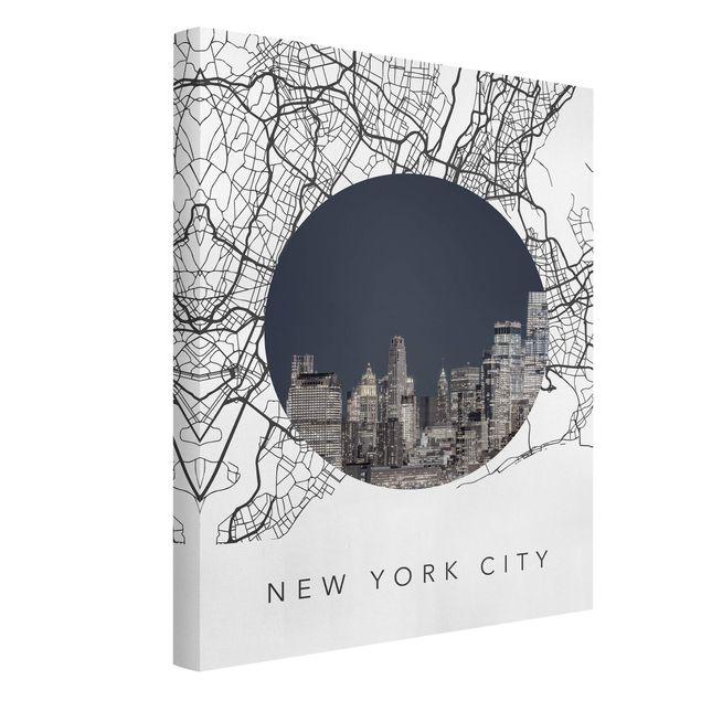 Leinwandbild - Stadtplan Collage New York City - Hochformat 3:4