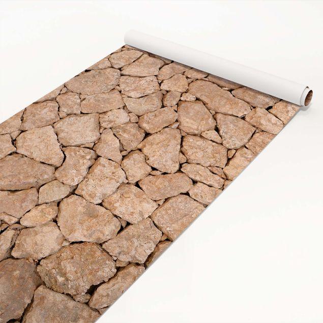 Steinfolie - Apulia Stone Wall - Alte Steinmauer aus großen Steinen - Klebefolie Steinoptik